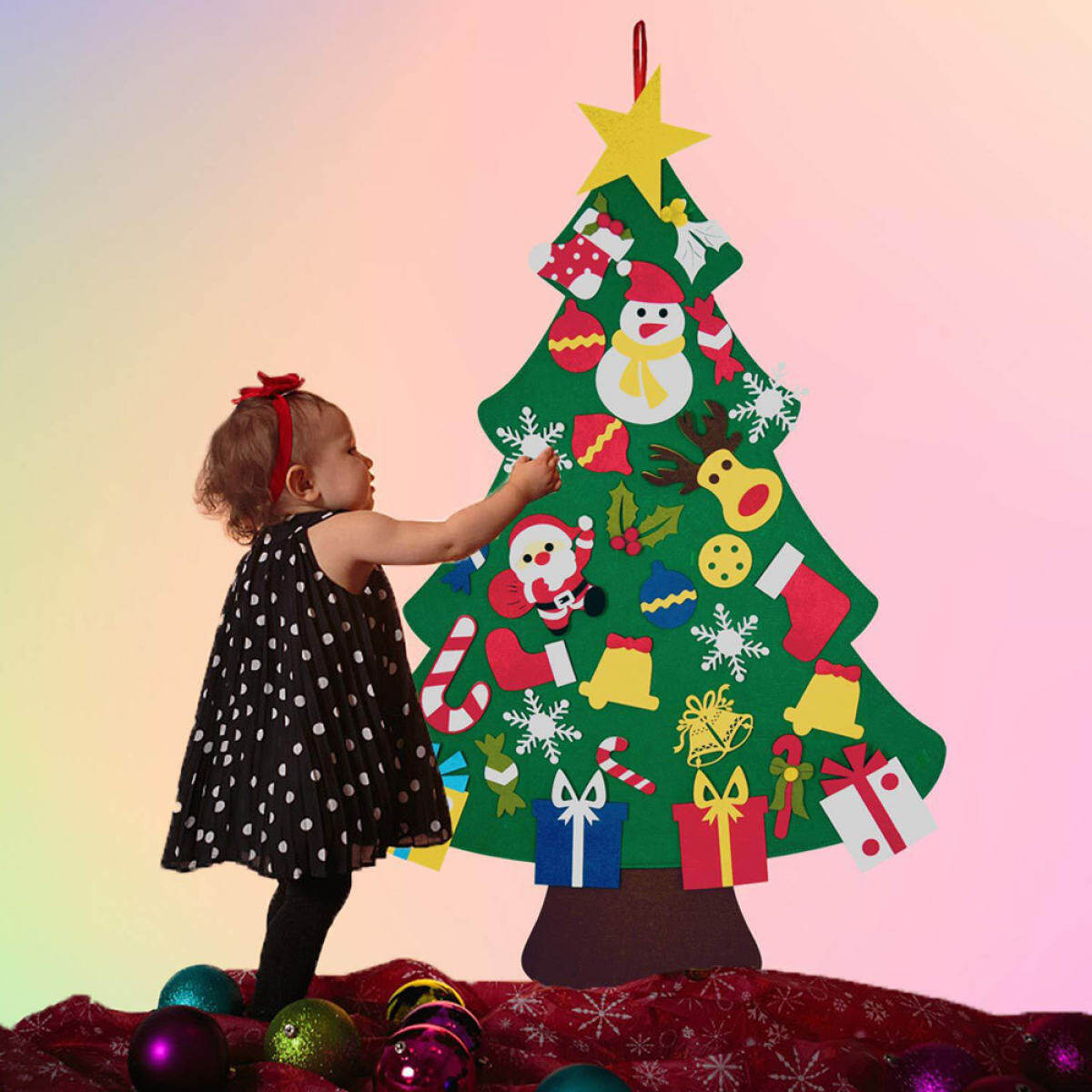 Diy Felt Christmas Tree With 30pcs Ornaments Door Wall Hanging Decorations Gifts For Kids Lazada