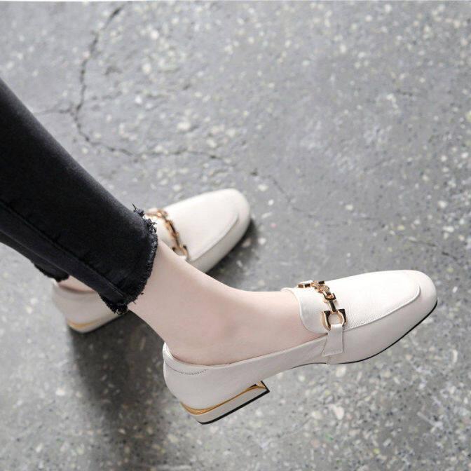 Giày Đế Mềm Bằng Da Cho Nữ Một Bước 2020 Phong Cách Mùa Xuân Tất Cả Phù Hợp Với Giày Đế Vuông Giày Đế Dày Giày Đơn Giày Đế Bằng Tiếng Anh Giày Da Nhỏ, giá rẻ