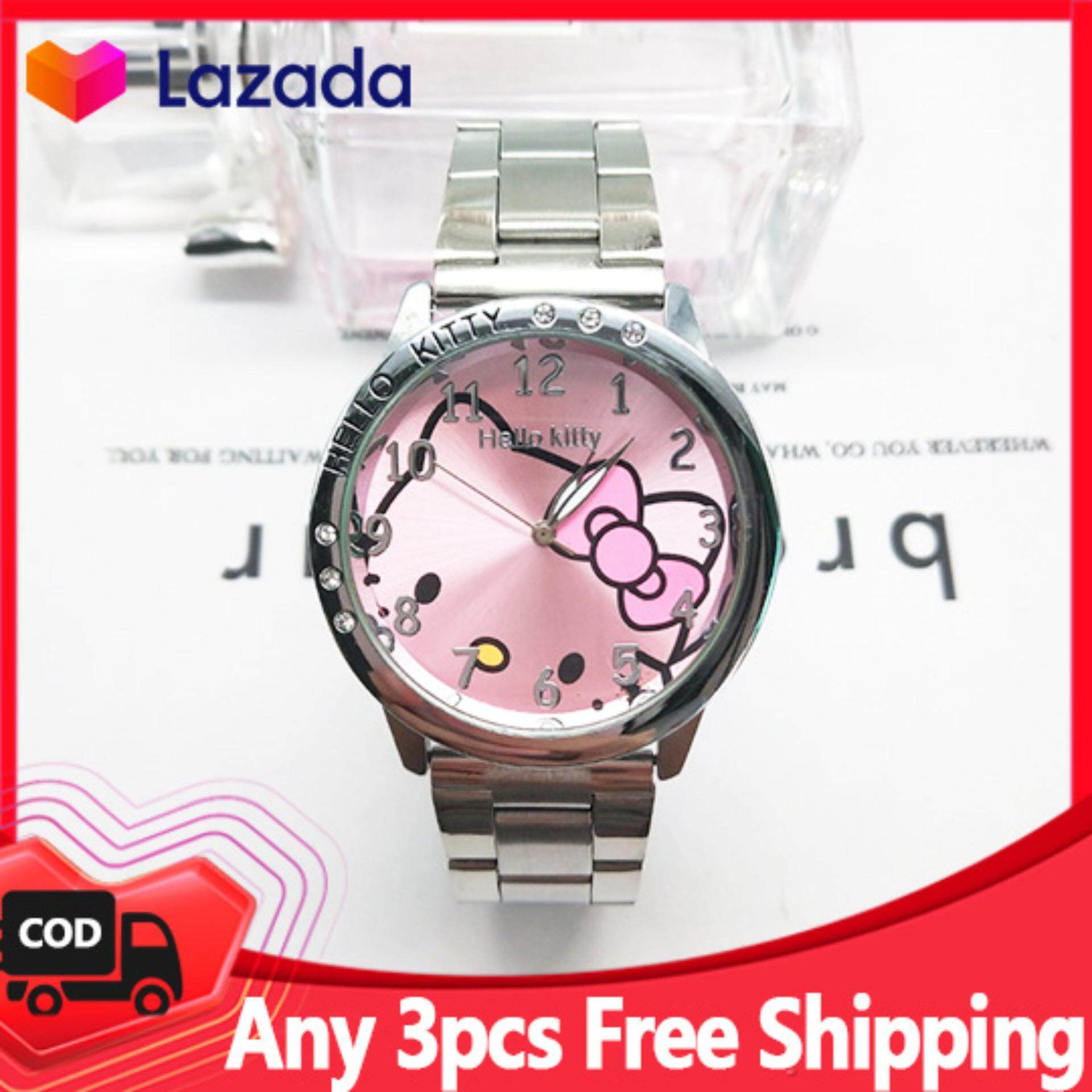 Hello Kitty Fashion Children Watches Cute Girls Quartz Watch Stainless Steel Diamond Casual Women Clock Student Lovely Kids Wristwatches Gifts Malaysia