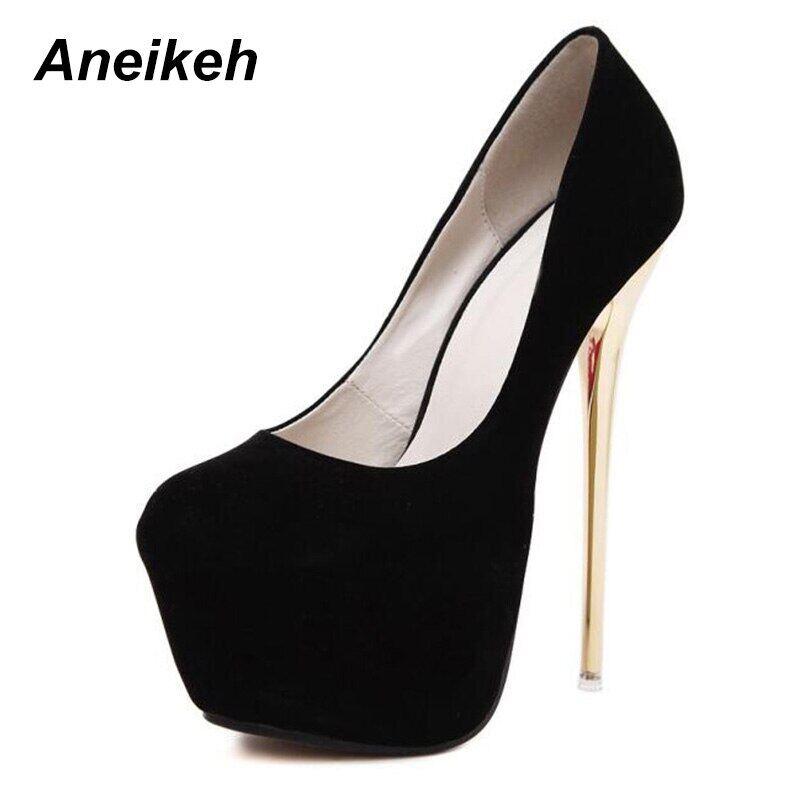 Big Size 41 42 43 44 45 Sexy Pumps Wedding Women Fetish Shoes Concise Woman Pumps High Heel Stripper Flock Pumps 16 Cm