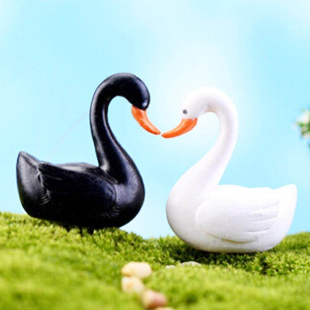 2PCS/Pair 2 Color Black White Swan Garden Ornament Miniature Figurine Plant Pot Fairy Garden Decor