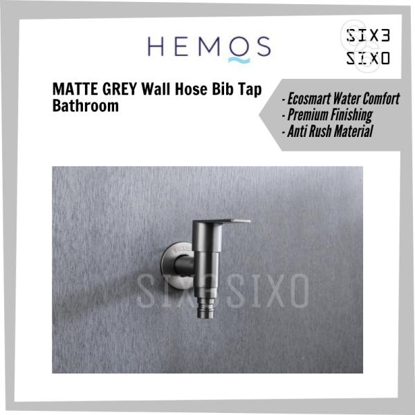 Hemos Matte Grey Bathroom Wall Hose Bib Tap Stainless Steel SUS304 [HM3216MG]