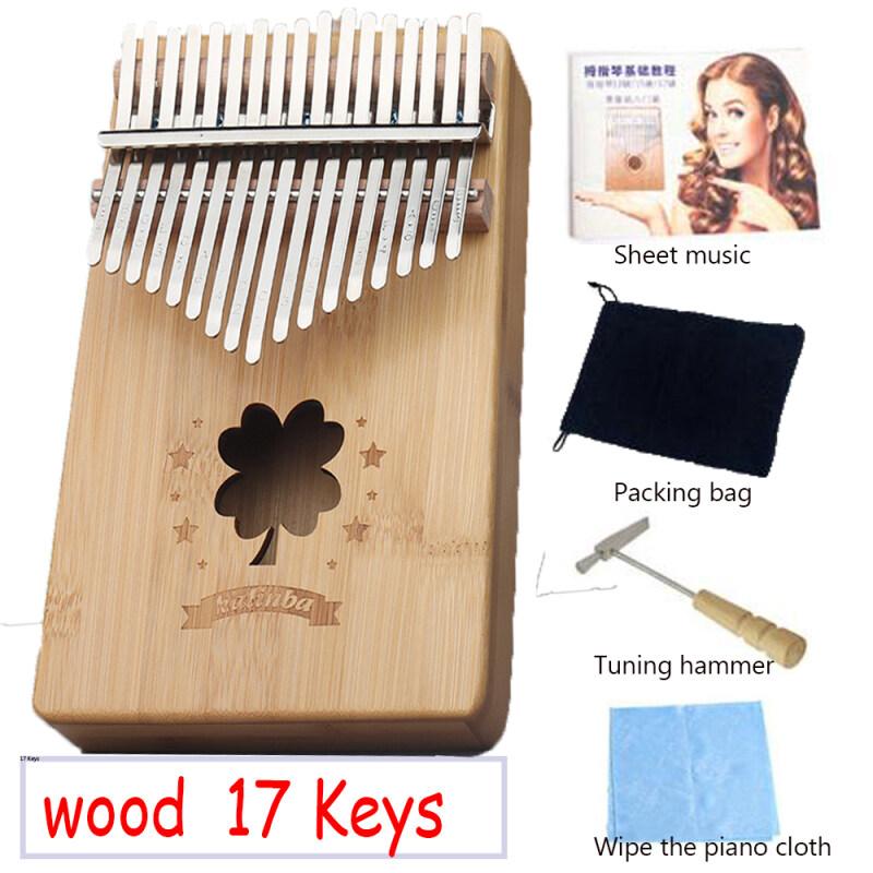 Bamboo-Clover 17 Keys Kalimba Thumb Piano Finger Piano Musical Toys With Tune-Hammer And Music Book High quality mahogany wood Portable Malaysia