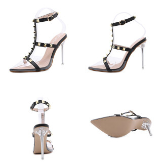 Womens Clear Pointed Toe Sandals Rivets T-Strap Ankle Strap Pumps with Buckle thumbnail