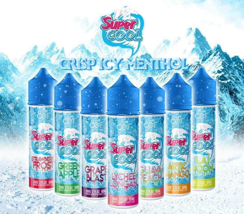 Supercool Artic Mango / Strawberry / Lai Moon / Green Apple / Grape Blast  Fruity Flavour Mint Cold Super Cool E JUICE E LIQUID VAPE Ejuice Eliquid  6MG