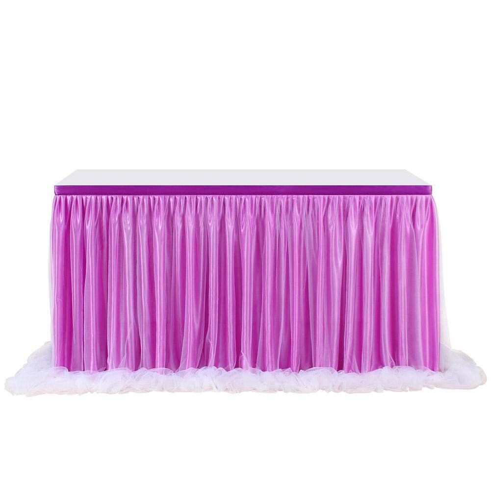Lumiparty Purple Color Long Yarn Table Skirt With Threaded Ribbon For Wedding Party By Lumiparty.