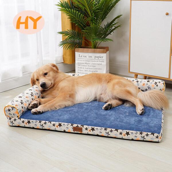 Nệm ngủ cho chó thông dụng bốn mùa màu xám hoặc màu xanh dương, có thể tháo rời và giặt được HY - INTL