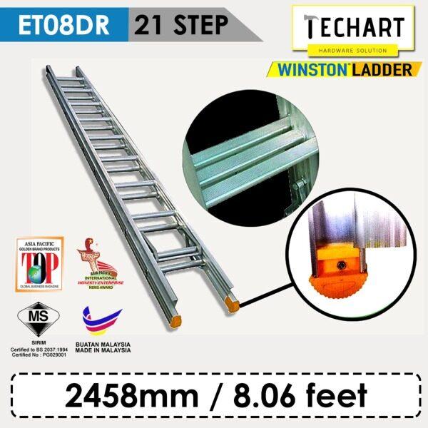 Original WINSTON ET08DR 21 Rungs Premium Aluminium Triple Pole Ladder with Sirim