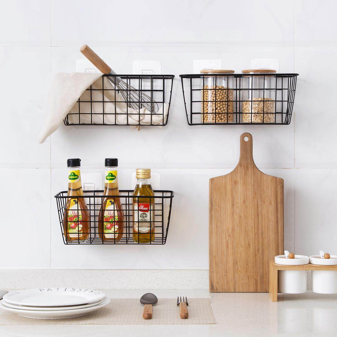 Iron Storage Baskets Kitchen Bathroom Hanging Storage Shelf Wall Spice Rack Condiment Shampoo Soap Cosmetic Holder By Homenhome Official Store.