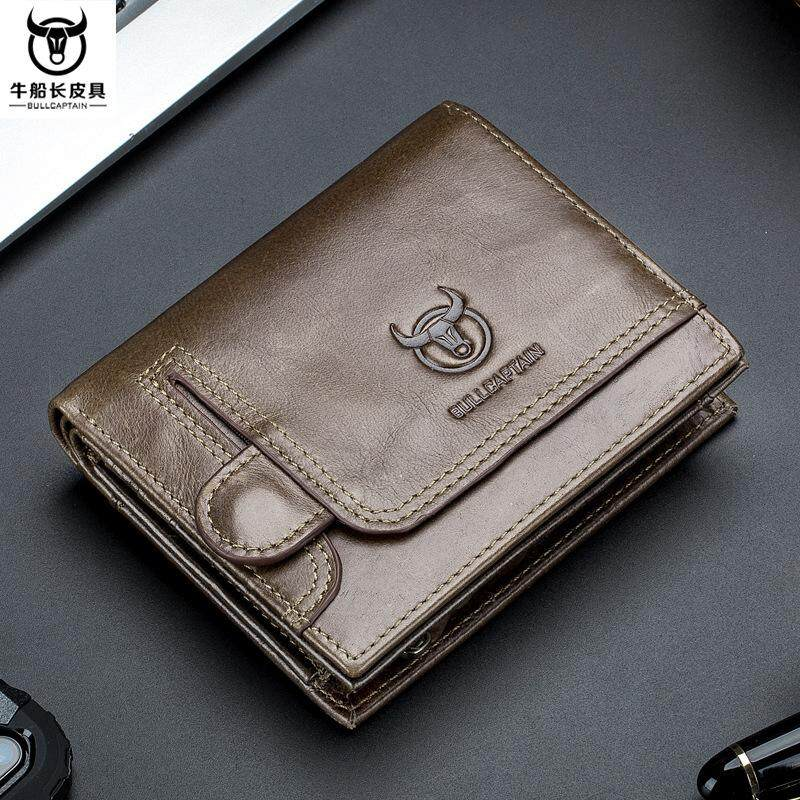 6a33e71718 BULLCAPTAIN Wallet for Men Genuine Leather Men Wallet Fashion Vintage  Zipper&Hasp Card Holder Money Clips Coin Purse Brand Gift HotDo069