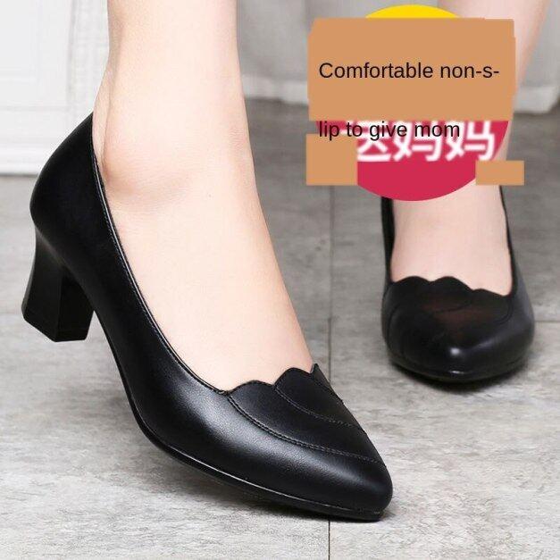 Giày Da Mềm Thoải Mái OQL206 Mẹ Giày Giày Đơn Bốn Mùa Gót Vừa Mềm Mại Thoải Mái Phụ Nữ Dày Gót Trung-Phụ Nữ Ở Độ Tuổi Không-Chống Trượt Giày Da giá rẻ