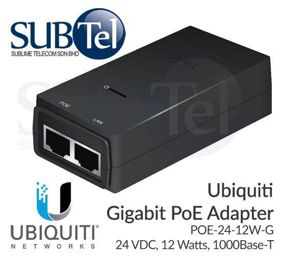 POE-24-12W-G Ubiquiti Networks Gigabit Power over Ethernet POE Adapter 24V  12W 0 5A UBNT for NS-5AC NS-5ACL AirMax AC GP-A240-050G