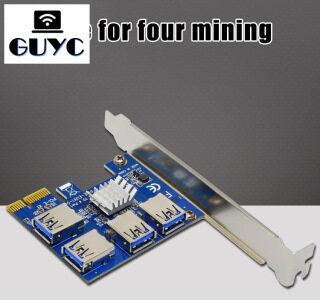 Thẻ Mở Rộng PCI Mới Bộ Chuyển Đổi 1 Sang 4 Khe Cắm PCI USB 3.0 Thẻ Riser Adatper PCIE Cho Thiết Bị Khai Thác Bitcoin thumbnail