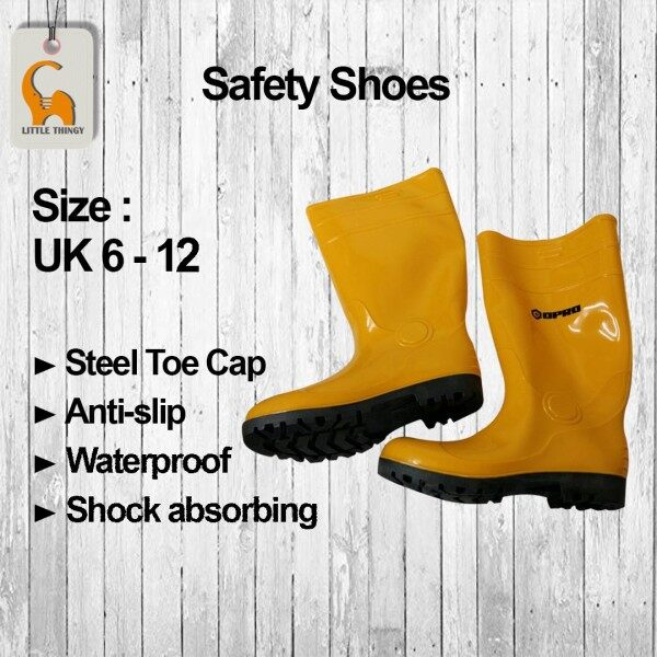 Yellow Rain Rubber Boots Safety Shoes Boot Opro With Steel Toe Caps Size 6 - 12 Kasut Getah Pua Chu Kang LittleThingy