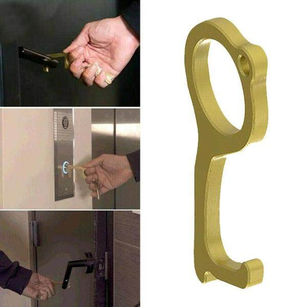 2020 new hotsale portable press lift hand hygiene tool antimicrobial brass edc door opener handle key