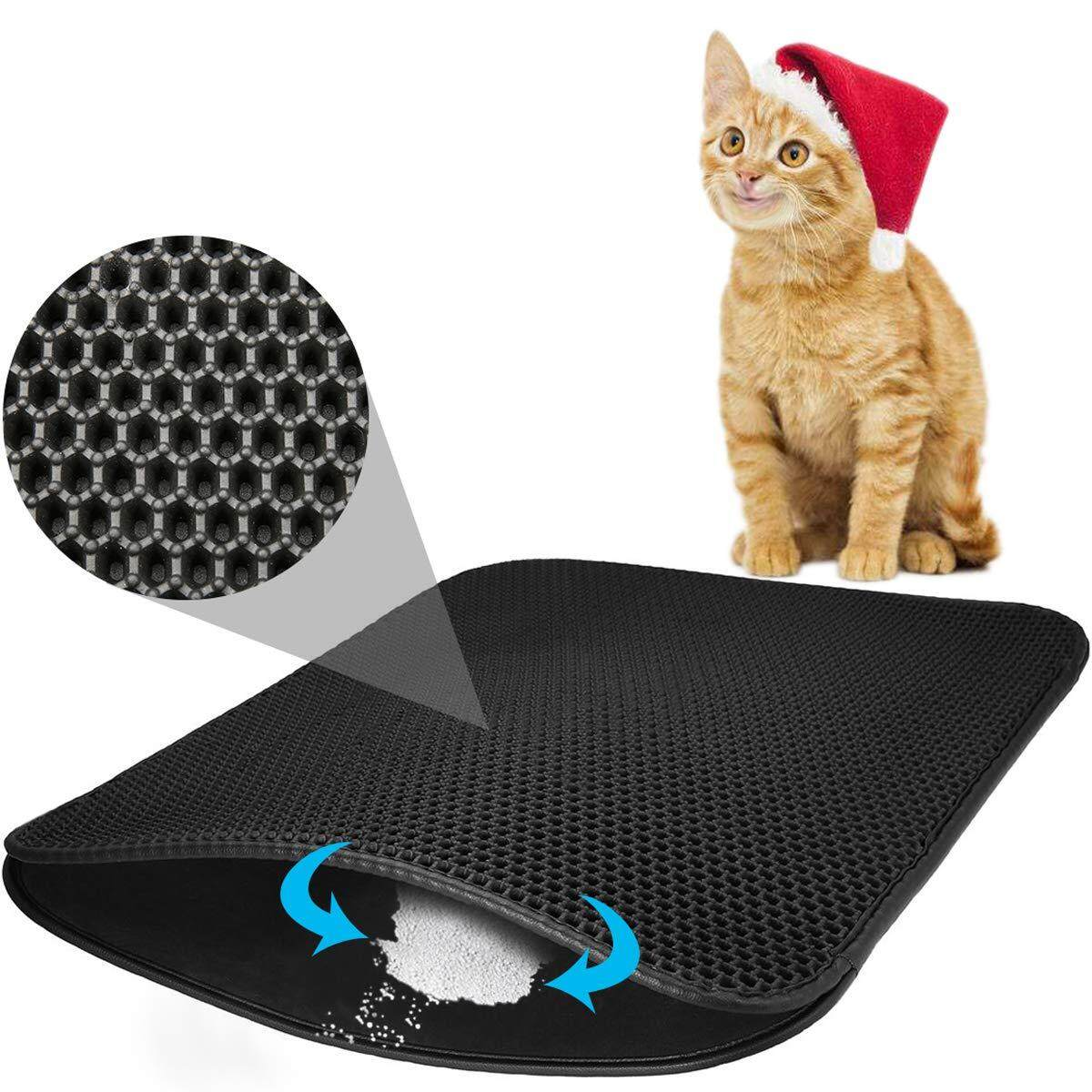 Cat Litter Mat Litter Trapping Litter Mat Honeycomb Double Layer Waterproof And Urine Proof Trapping Mat For Furniture/hooded Mat For Litter Box Easy Clean Traps Litter By Dragonlee.