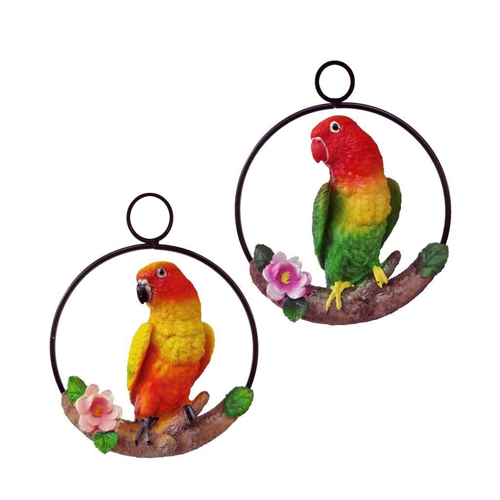 Blesiya 2Pcs Resin Hanging Artificial Parrot Statue Model on Ring Garden Decoration