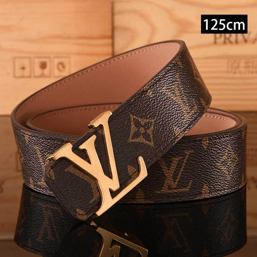 b47d8b8465b L.V Belt Letter Smooth Buckle Belt Pants Tide Lattice Old Pattern Belt For  Men And Women