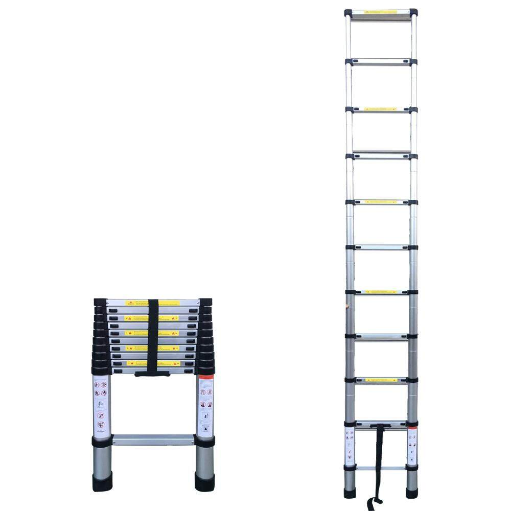 10.50FT(3.2m) Household Foldable Aluminium Alloy Ladder 11Steps Extension Ladders Telescopic Extendable 150kg Bear Weight with Locking Mechanisms Safety Space Saving Easy Installing