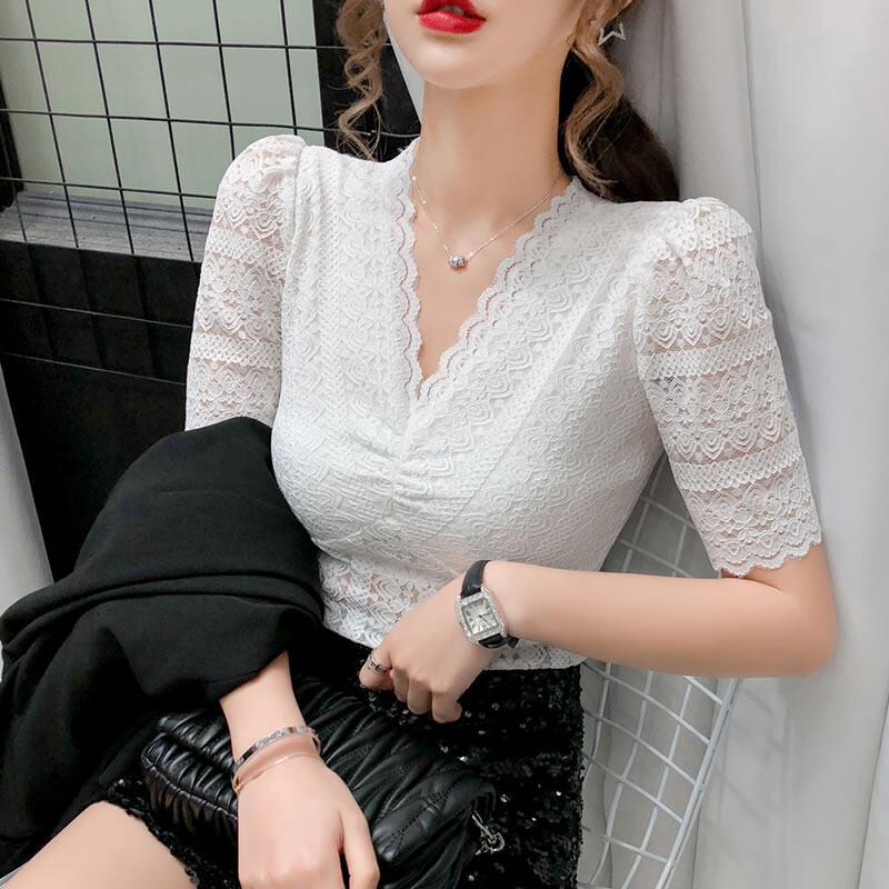 Yomistudio เสื้อลูกไม้สีขาว เสื้อสตรีผ้าลูกไม้คอวี,เสื้อแขนสั้นแบบพองเนื้อผ้าโปร่งสีพื้นเนื้อผ้ามีความยืดหยุ่นสูงสำหรับผู้หญิงเด็กผู้หญฺิงสำหรับฤดูร้อ.