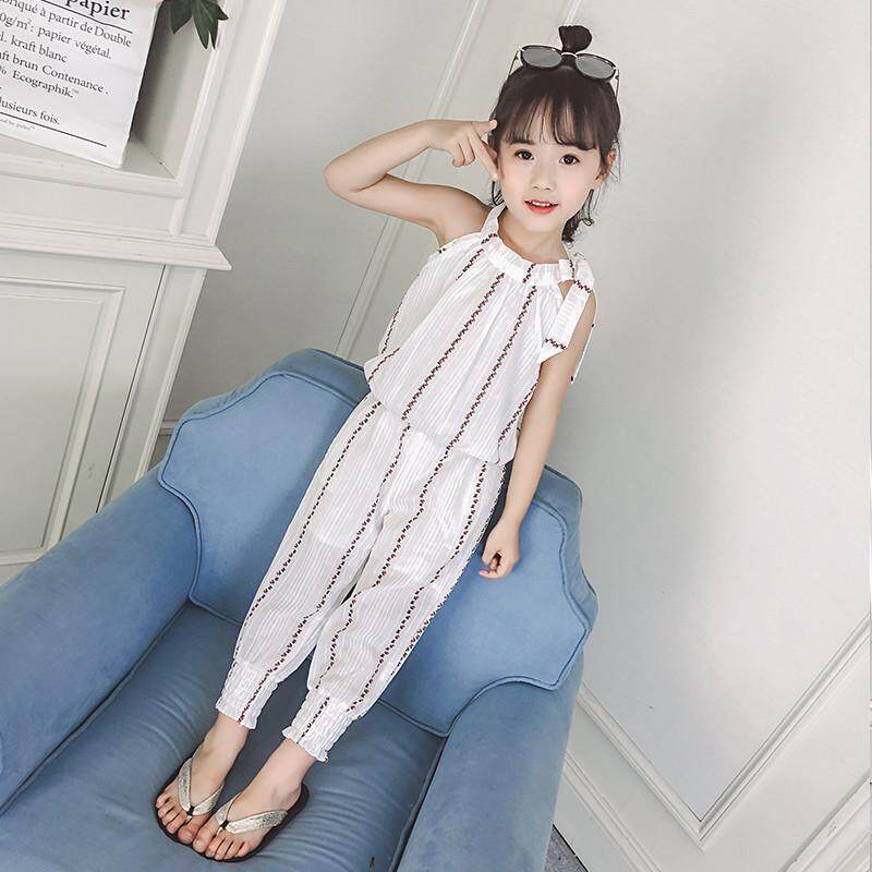 9caf389854 2018 Summer Tops Girls  suits striped Sleeveless T shirts Vest+ 3 4 Pants  Children