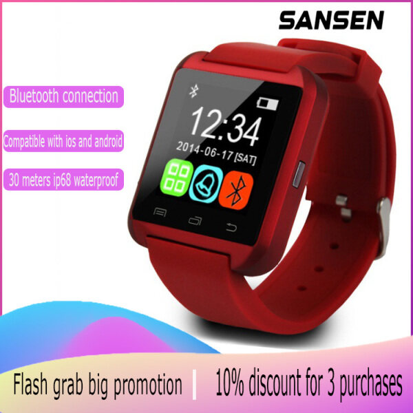 SanSen U8 Fashionable English version mens and womens smart watches Bluetooth call smart watch watch Student sports waterproof smart bracelet Support sleep monitoring Sedentary reminder Exercise pedometer Built-in speaker Compatible with iOS and Android Malaysia