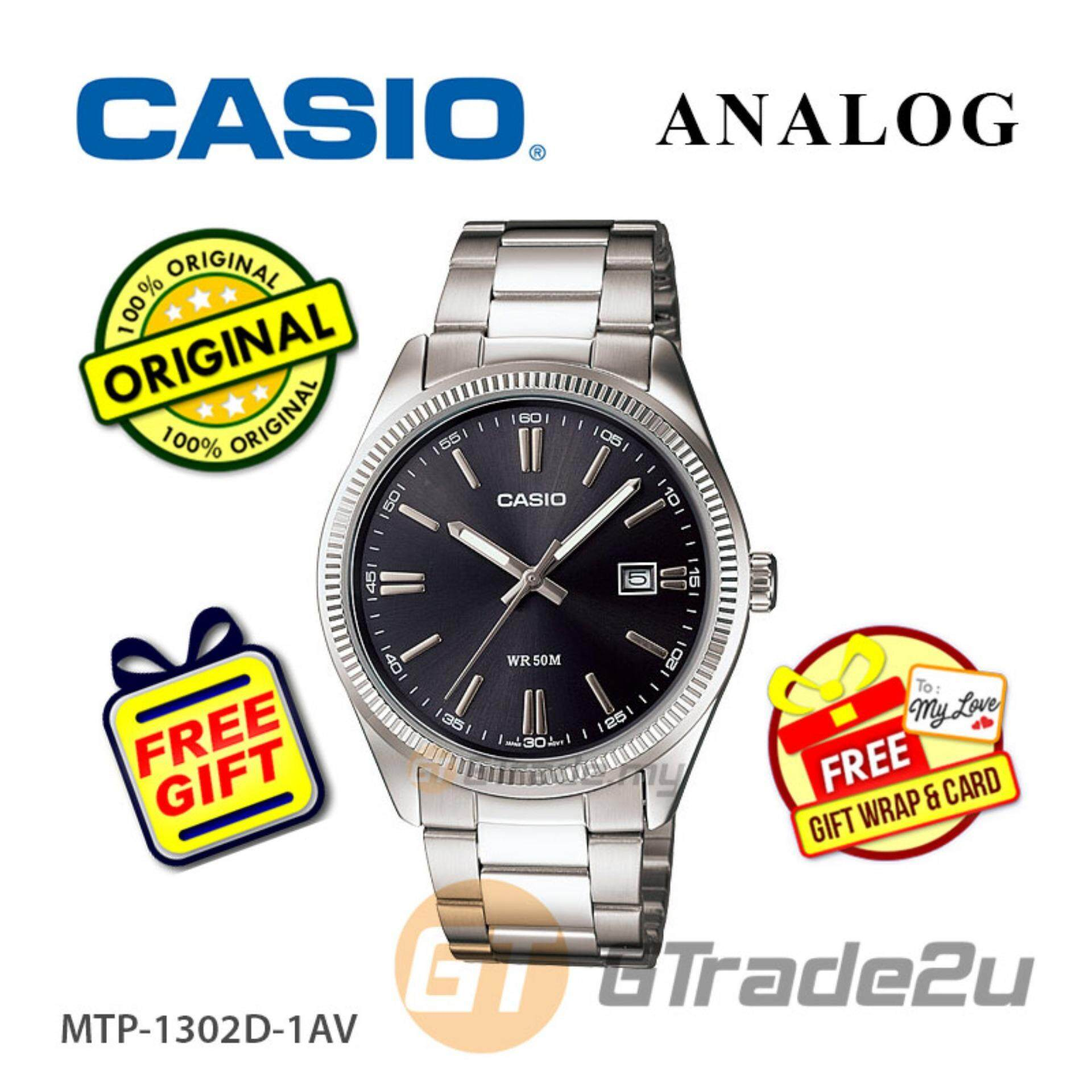 Casio Standard MTP-1302D-1A1V WR50m Analog Mens Watch Date Display - Black Malaysia