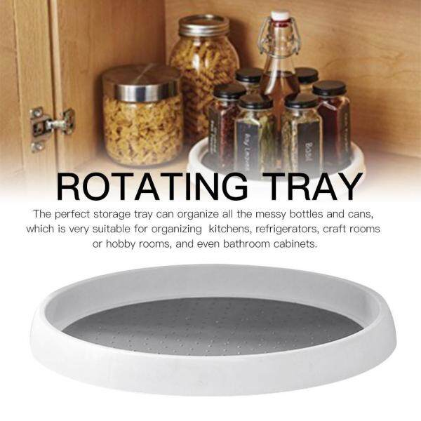 12-Inch Non-Skid Pantry Cabinet Turntable with Wide Base Storage Bin Rotating Organizer for Kitchen Seasoning