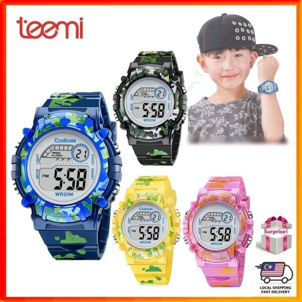 TEEMI Camouflage Army Kids Children Boy Girl Sports LED Digital Watch Rainbow Back Light Alarm Timer Malaysia