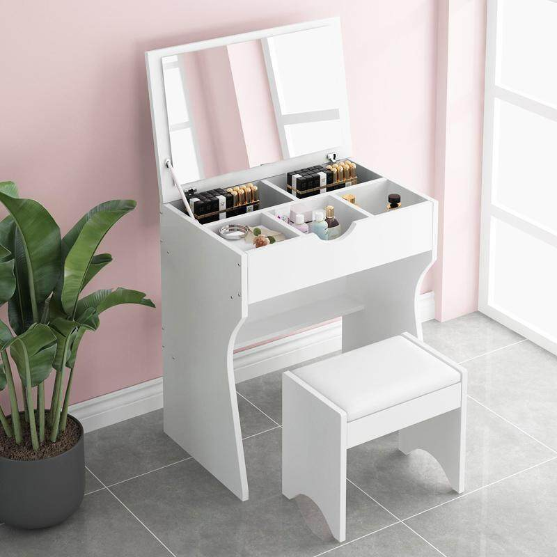 European Dressing Table Set, Solid Wood Bedroom Dressing Table with HD Folding Mirror and Stool, Seperated Drawers, Princess Makeup Cabinet Luxury Small Dressing Table