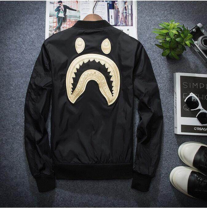 BAPE A Bathing Ape Embroidery Shark Head Men/'s Black Flight Bomber Jacket Coat