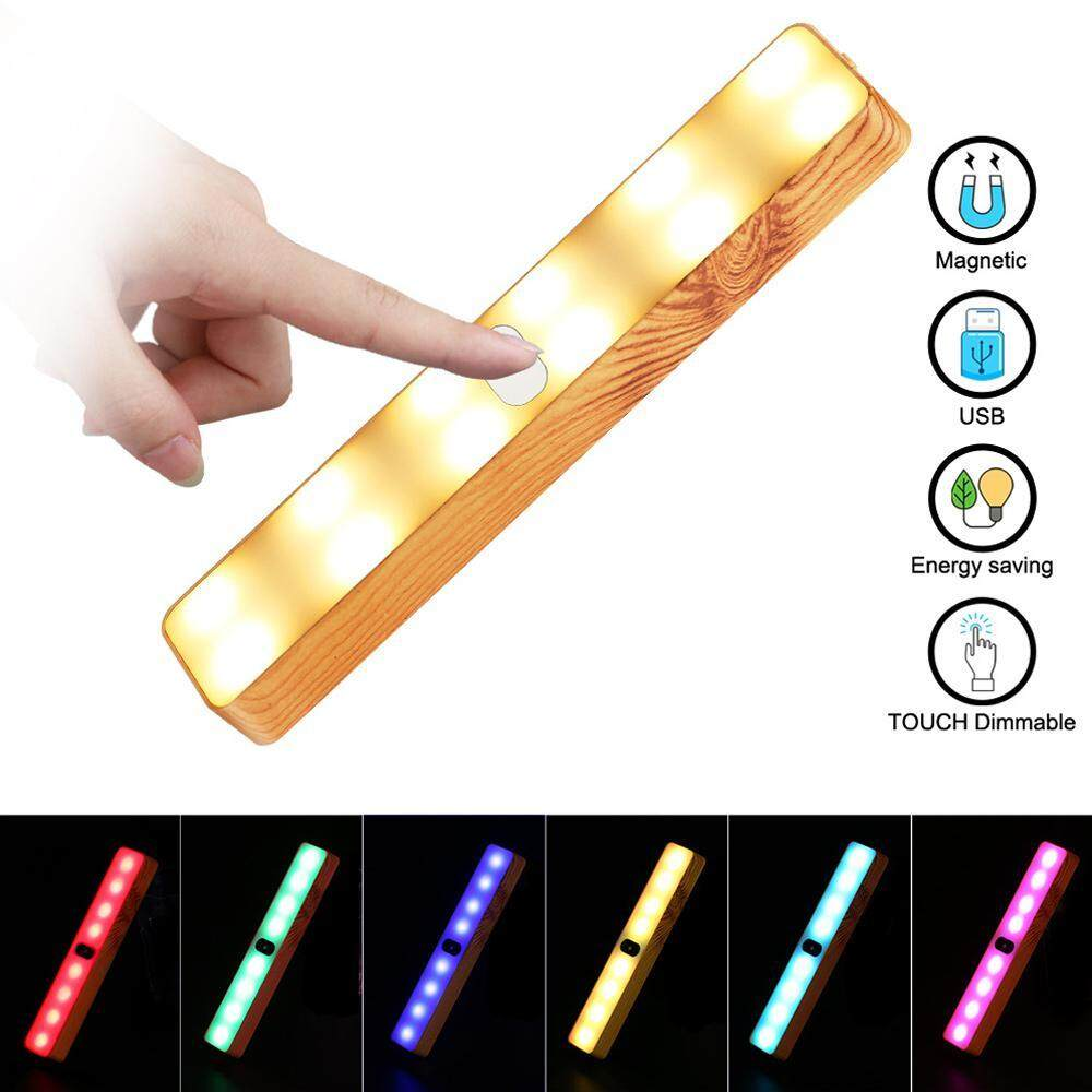 SeaLavender Colorful Wood Grain LED Light Bar Touch Magnetic Suction Cabinet Little Lamp Outdoor Camping Tent Light Wardrobe Wall Light [Energy Class A]