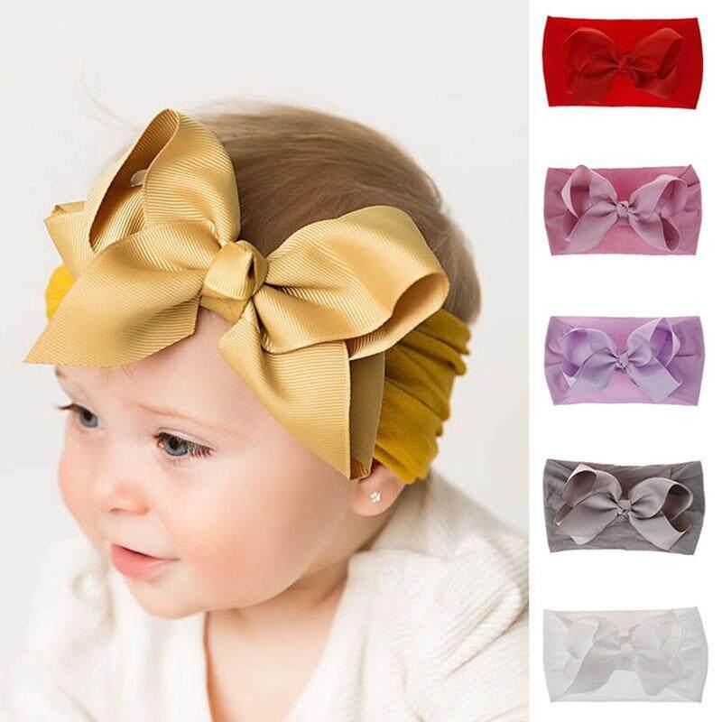 26985194b 6 Pcs / Set Soft Nylon Elastic Baby Headband Newborn Bows Knot Baby Girl  Heabands Girls