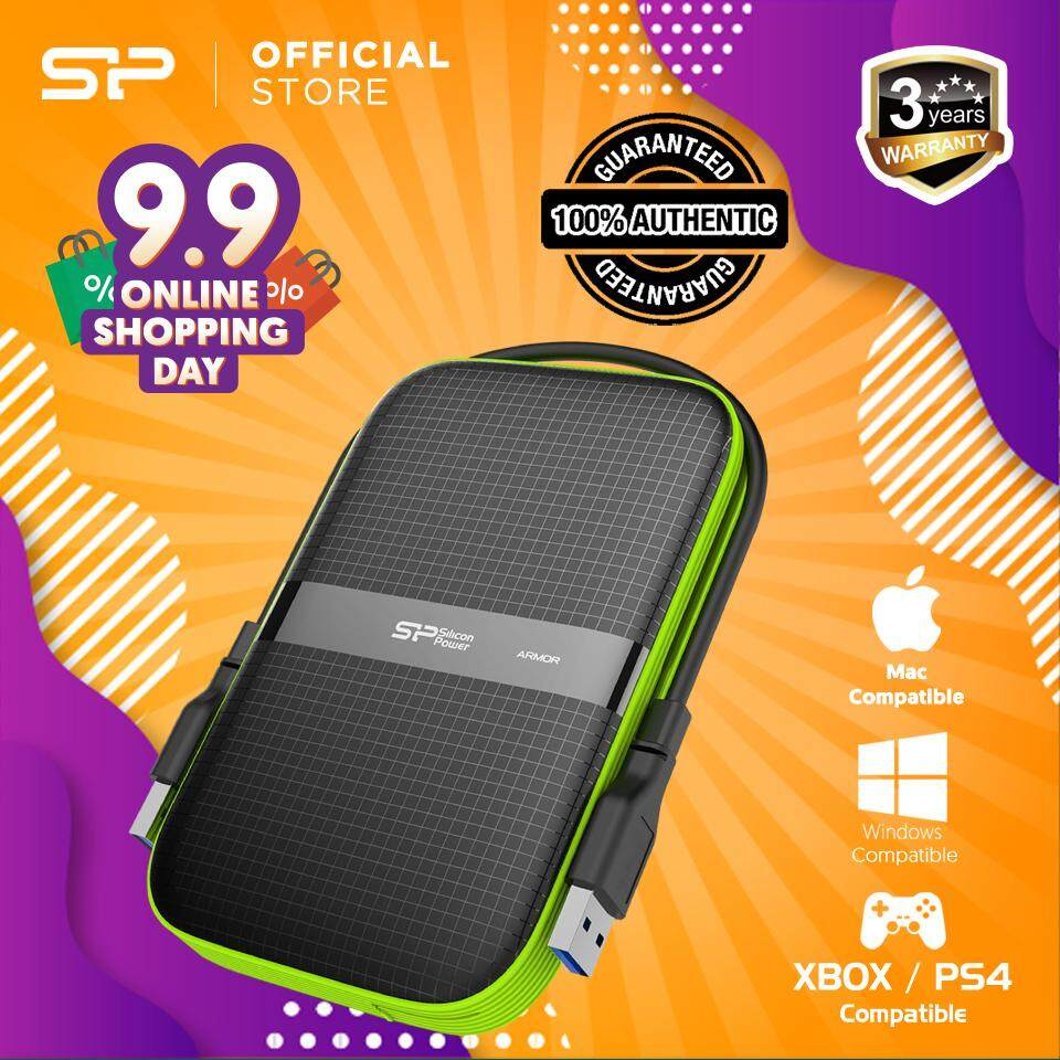 Silicon Power 1TB / 2TB / 4TB / 5TB Rugged Portable External Hard Disk  Drive, USB 3 0 Shockproof HDD for PC, Mac, Xbox and PS4, Armor A60 Black