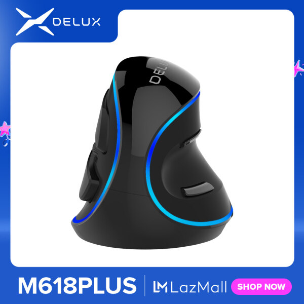 Delux M618 Plus Ergonomic Vertical wired Mouse 6 Buttons 1600 DPI Blue led light Computer mice with Palm Rest for PC Office