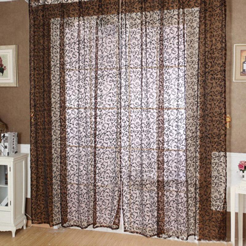 Cửa Rèm Cửa Sổ Nhà Máy Hoa Mô Hình Rèm Vải Tuyn Voan Mỏng Diềm