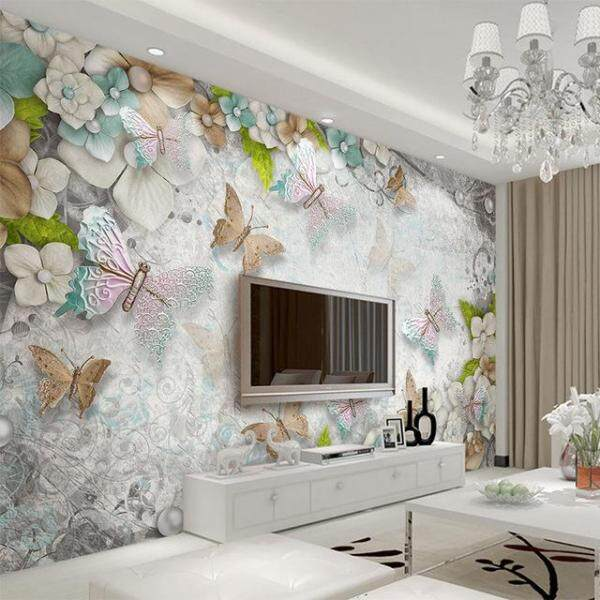 3D Wallpaper Vinyl Wall Sticker Mediterranean Butterfly Flower Pearl Backdrop Wall Mural Living Room Hotel Bedroom Luxury Decor Wallpaper