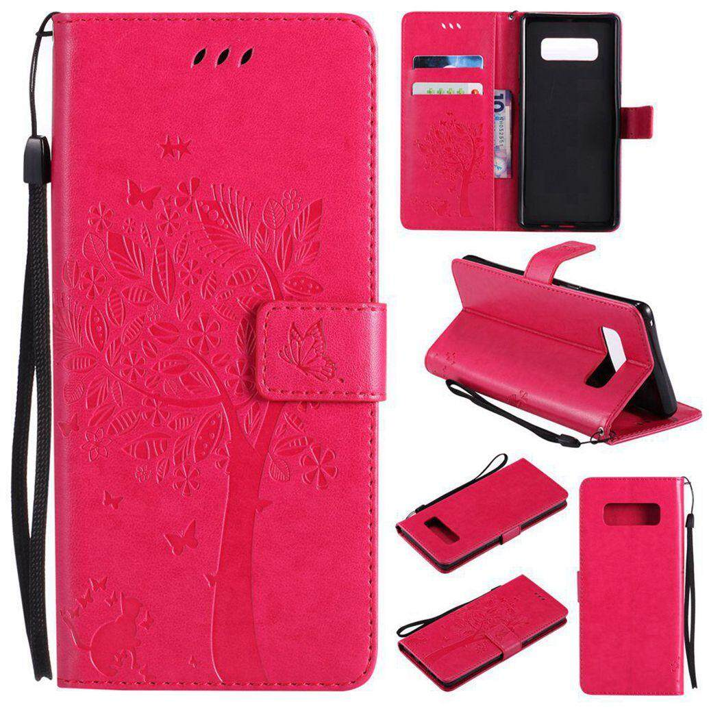 Hot Pink Cat Tree Leather Flip Wallet Stand Case Cover For Samsung Galaxy Note 8