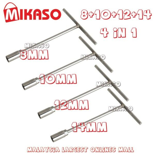 MIKASO 8 10 12 14mm T Handle Socket Wrench (One set 4 pieces)