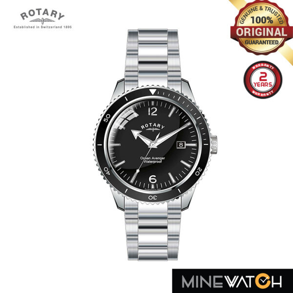Rotary Ocean Avengers 40mm Black Dial Silver Stainless Steel GB02694/04 Malaysia