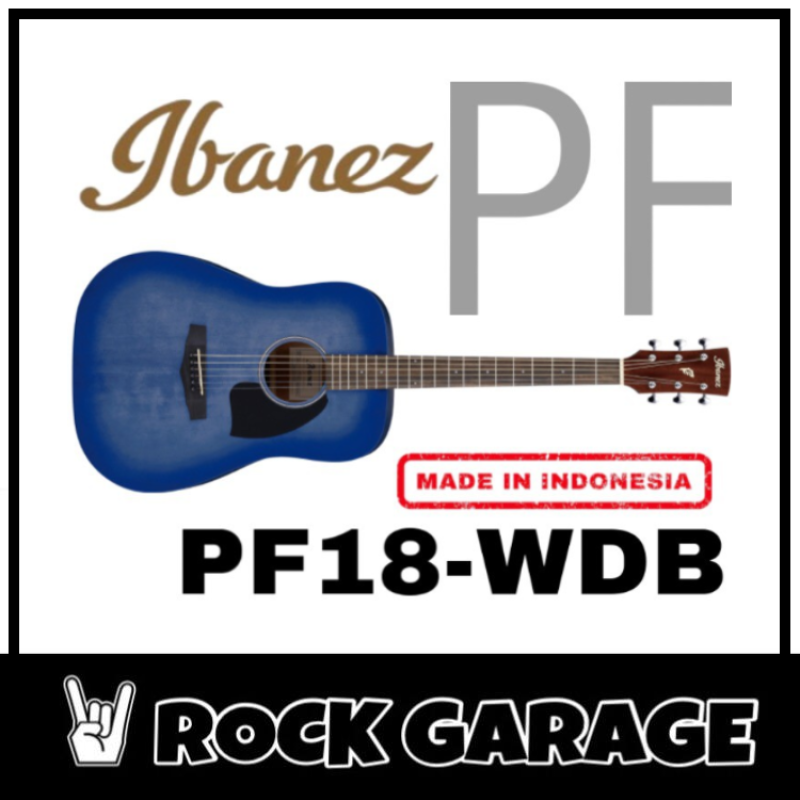 Ibanez PF18 Acoustic Guitar, Washed Denim Burst Open Pore(WDB) Malaysia