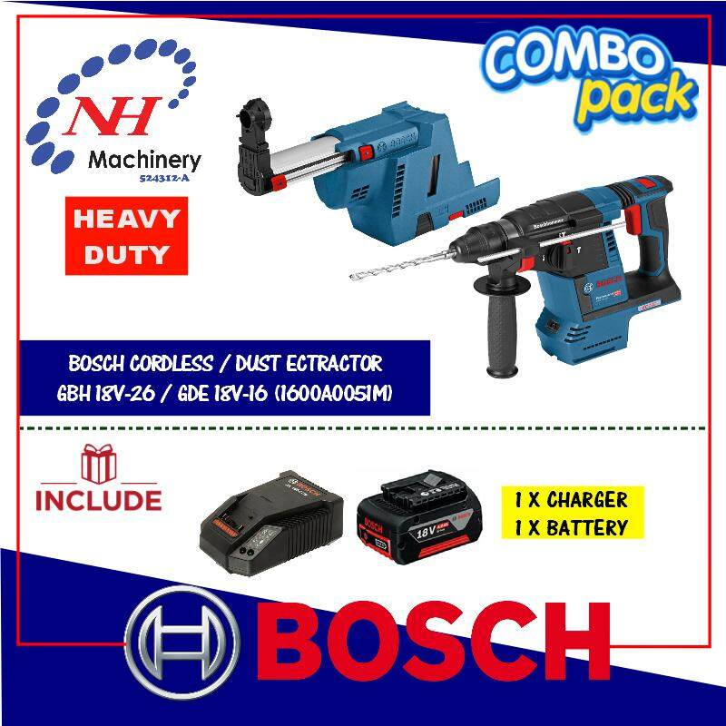 Bosch GBH 18v-26 + GDE 18v-26 FREE Battery & Charger (1860/4.0AH)