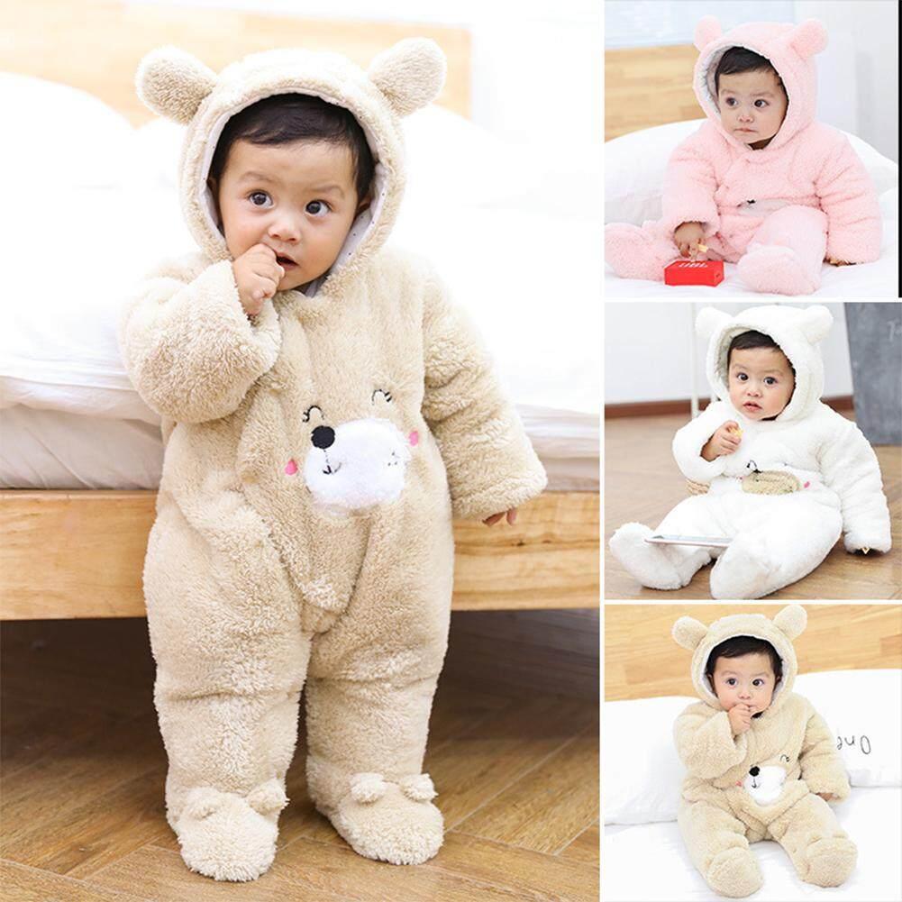 New Baby Boy Girl Warm Cute Bear Romper Jumpsuit Bodysuit Hooded Clothes