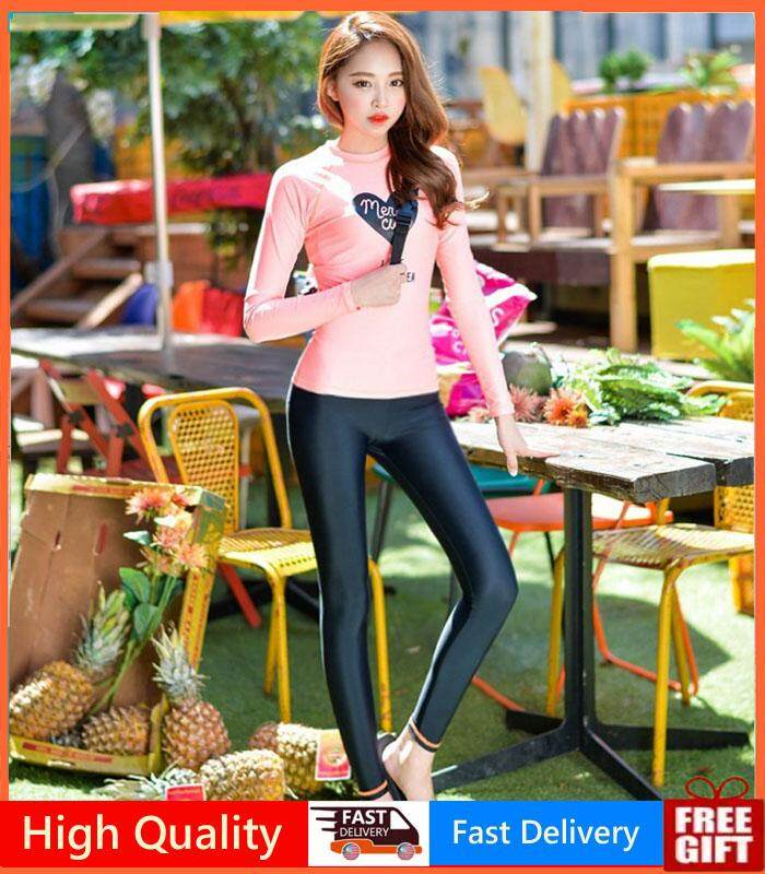 7f858bbd36d8 Women 3 Pics Swimsuit Fashion Long-sleeved Yoga Clothes 3 Pics Diving Suit  Sunscreen Hot