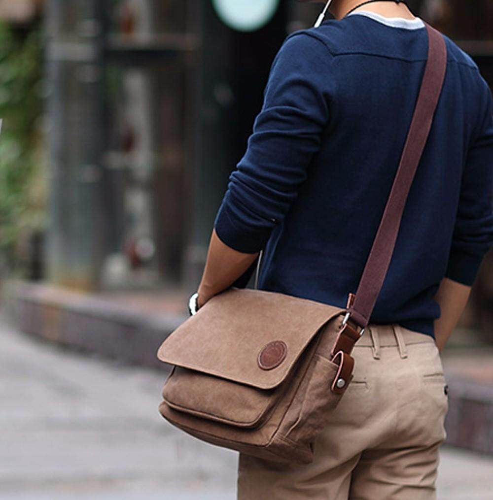 kaluoeshop Men Vintage Canvas  Shoulder Bag Crossbody Sling School Bags Messenger