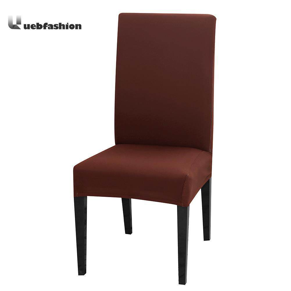 Uebfashion 4/6pcs Solid Coffee Color Thin Stretch Seat Case Elastic Chair Slipcover