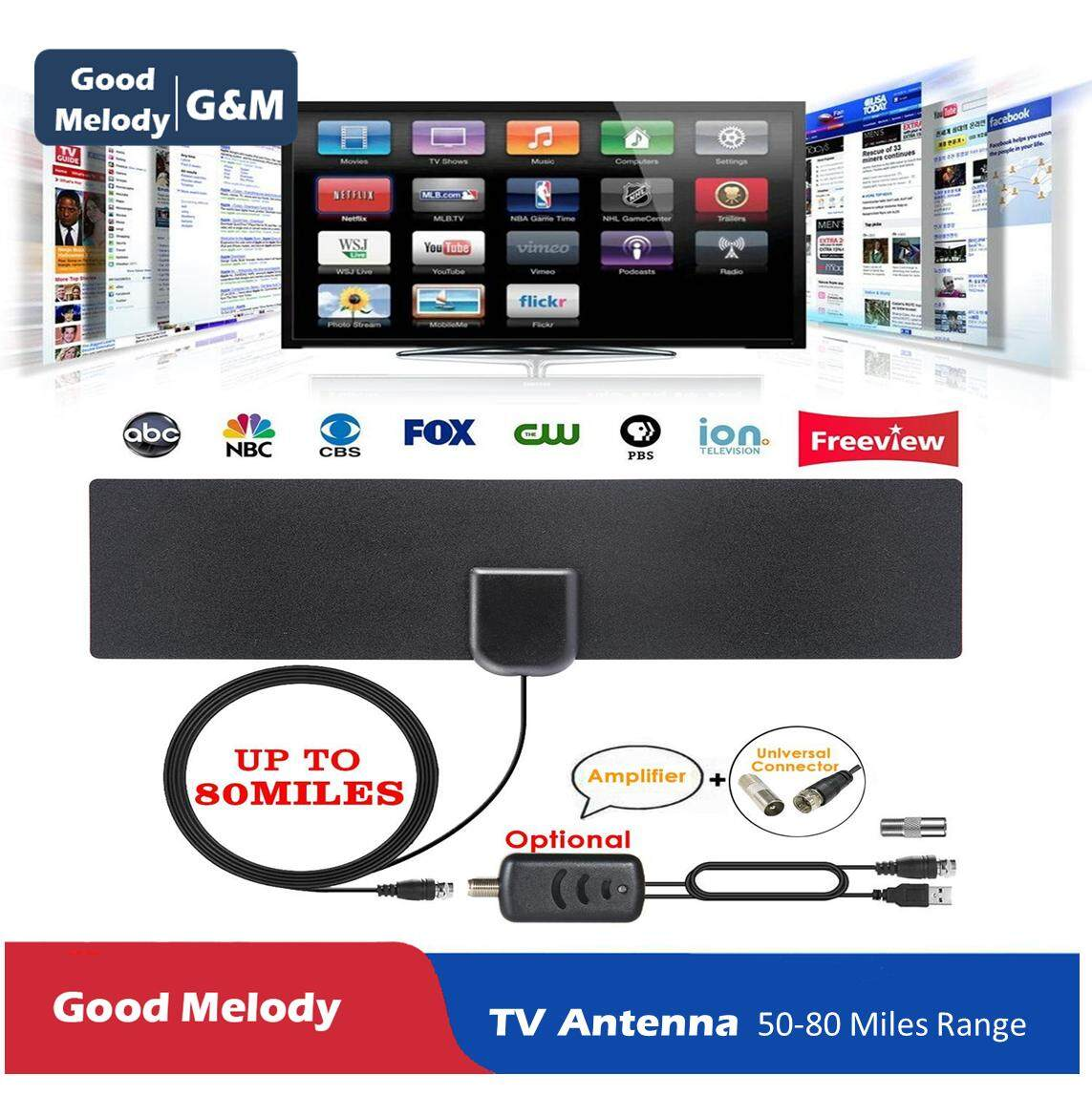 G&M(Good Melody) Updated 2018 Version TV Antenna Indoor Digital High  Definition HDTV Antenna Amplified 50-80 Miles Range 4K HD VHF UHF Freeview  For