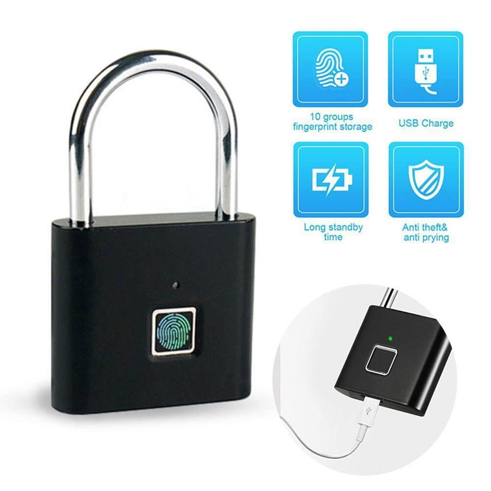 SilyNew Thông Minh Mới Vân Tay USB Sạc 10 Bộ Dấu Vân Tay IP65 Chống Thấm Nước Chống Trộm An Ninh Khóa Móc Gài Cửa Hành Lý Ốp Lưng nhà Để Xe Khóa