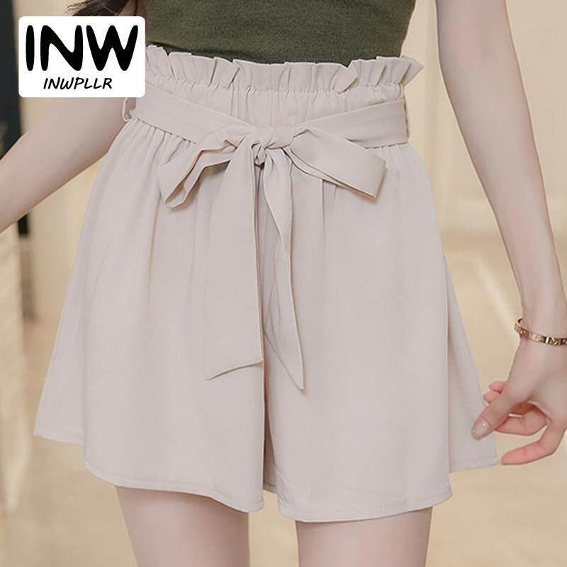 c925a3a016 INWPLLR Women's Fashion Shorts Summer High Waist Chiffon Shorts Female  Shorts Bow Elastic Waist Wide Leg