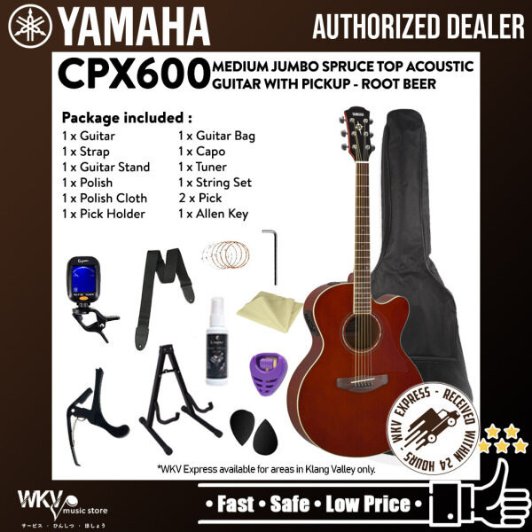 Yamaha CPX600 Medium Jumbo Spruce Top Acoustic Guitar With Pickup - Root Beer (CPX 600 / CPX-600) Malaysia